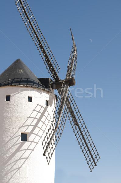 Fehér ősi szélmalom kék ég épület tájkép Stock fotó © deyangeorgiev