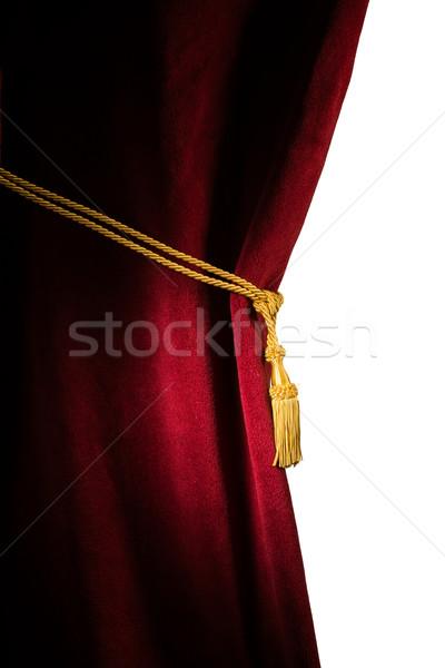 Vermelho veludo cortina branco isolado Foto stock © deyangeorgiev