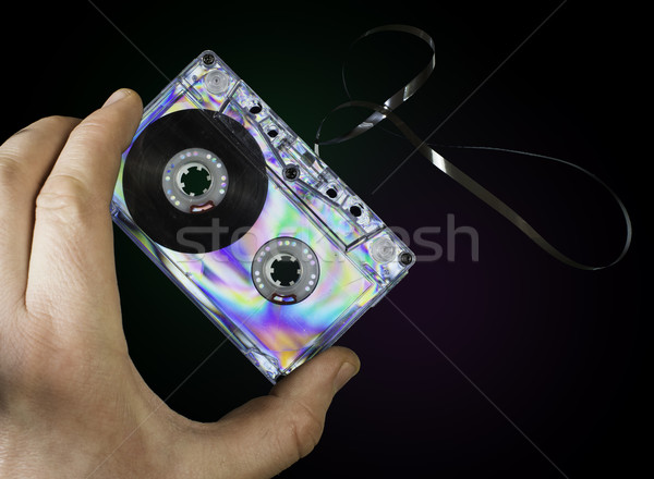Hand holding vintage cassette tape Stock photo © deyangeorgiev
