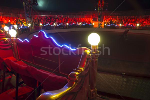 Cirkusz aréna belső kék piros fények Stock fotó © deyangeorgiev
