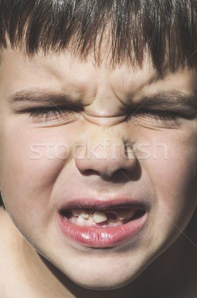 ребенка отсутствующий зубов лице фон мальчика Сток-фото © deyangeorgiev