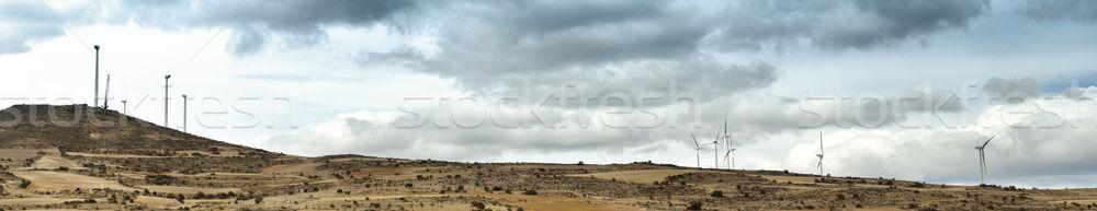 Installation of wind turbines panorama  Stock photo © deyangeorgiev
