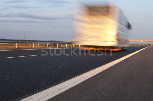 Bus traveling on highway. Motion blur effect Stock photo © deyangeorgiev
