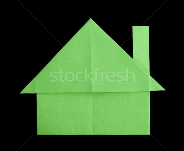 Ház papír összehajtva origami stílus üvegház Stock fotó © deyangeorgiev
