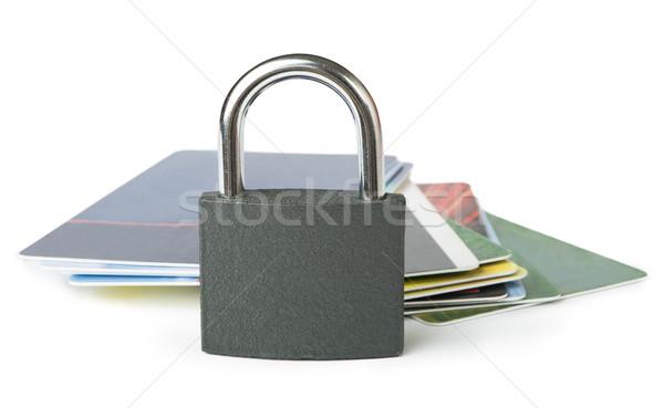 Gri asma kilit kredi kartları yalıtılmış Stok fotoğraf © deyangeorgiev