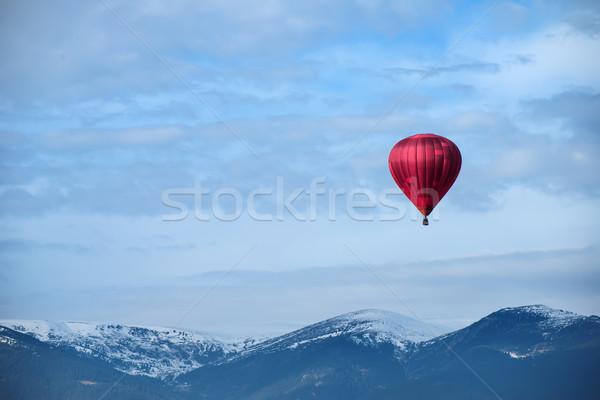 Red balloon in the blue sky Stock photo © deyangeorgiev