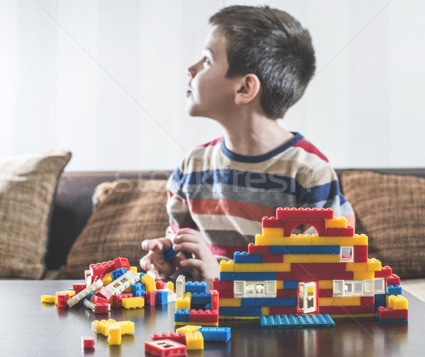 Child play with children's constructor toys Stock photo © deyangeorgiev