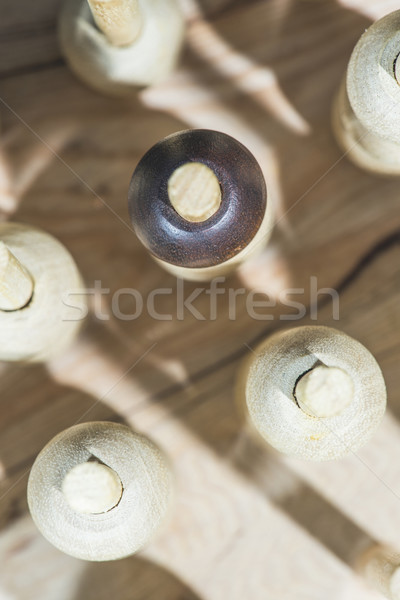 Stock photo: Wooden figures in the concept of individuality