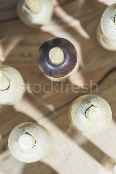 木製 個性 リーダーシップ 木材 チェス グループ ストックフォト © deyangeorgiev