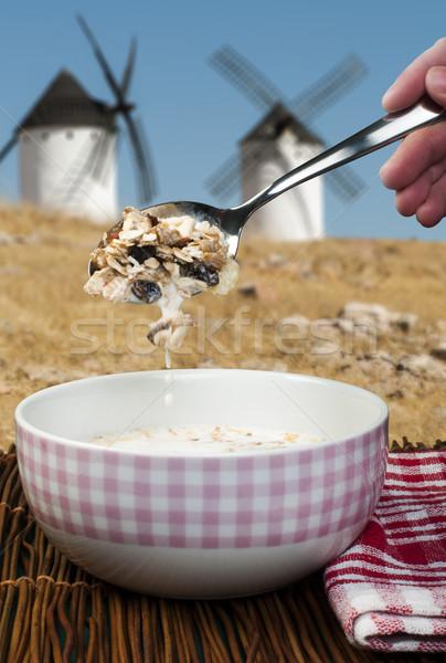 мюсли завтрак чаши свет молоко энергии Сток-фото © deyangeorgiev