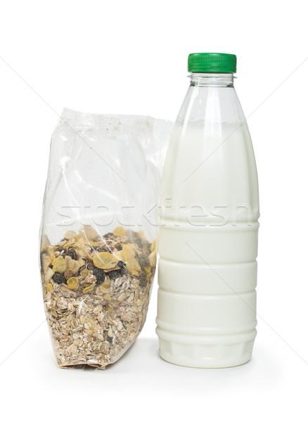 Müzli reggeli csomag üveg tej fehér Stock fotó © deyangeorgiev