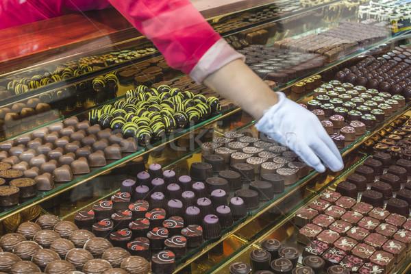 Schokolade candy Laden Fenster stehen Essen Stock foto © deyangeorgiev