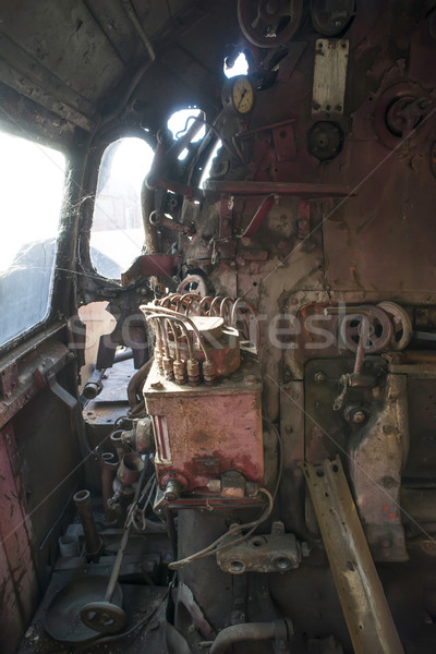 Details oude stoomlocomotief interieur binnenkant locomotief Stockfoto © deyangeorgiev