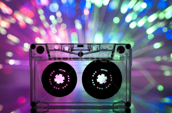 Cassette tape and multicolored lights Stock photo © deyangeorgiev