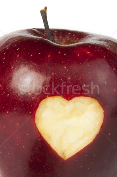 Heart shape closeup carved in apple Stock photo © deyangeorgiev