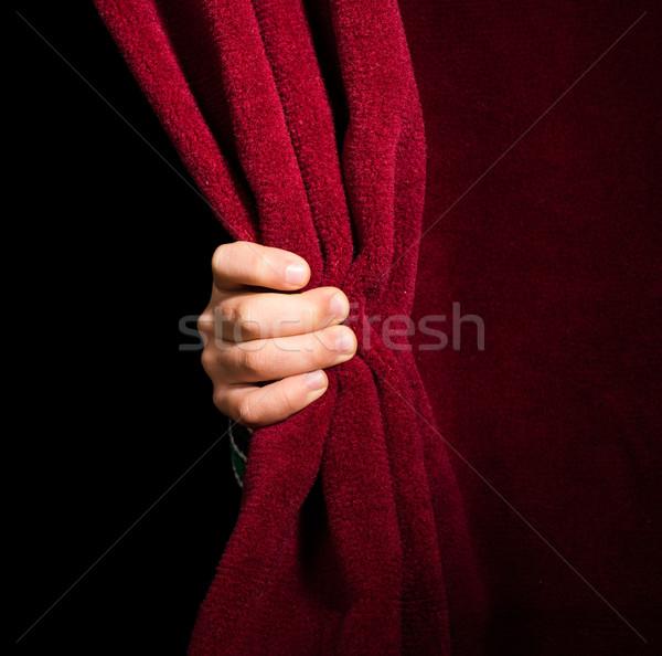 Сток-фото: стороны · занавес · красный · фон · портрет · ткань