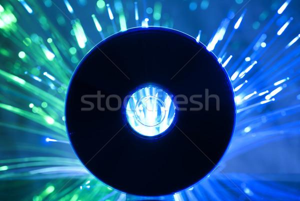 Compact disc veelkleurig Blauw lichten partij achtergrond Stockfoto © deyangeorgiev