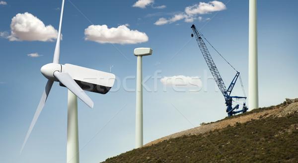 Instalación cielo hierba paisaje campo Foto stock © deyangeorgiev