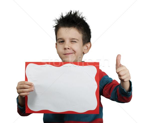 Pequeno menino okay símbolo Foto stock © deyangeorgiev