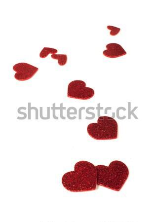 Red shiny hearts on white background Stock photo © deyangeorgiev