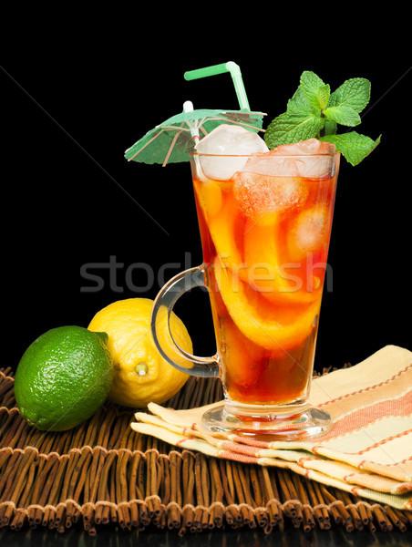 Chá gelado limão vidro de fruto Foto stock © deyangeorgiev