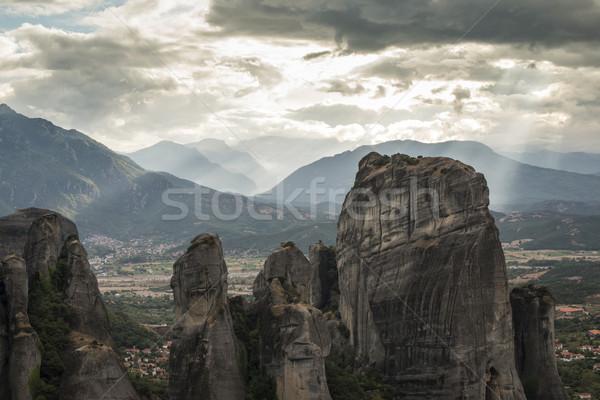 Yunanistan üst kaya towers doğa manzara Stok fotoğraf © deyangeorgiev