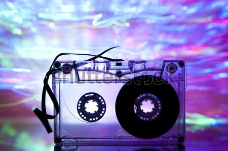 Cassette tape and multicolored lights Stock photo © deyangeorgiev