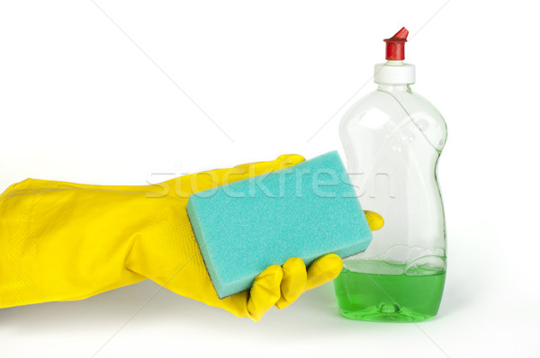 Spons afwas hand wasmiddel witte geïsoleerd Stockfoto © deyangeorgiev