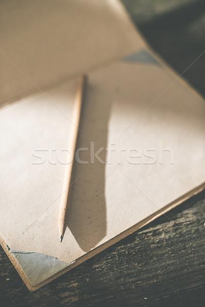 Vintage lápis desenho papel fraco luz solar Foto stock © deyangeorgiev