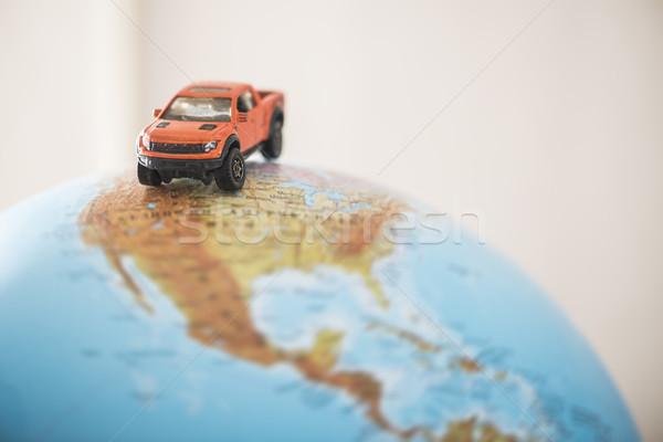 Carro globo miniatura estrada mundo carros Foto stock © deyangeorgiev