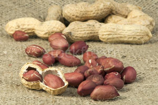 Closeup Peanuts on burlap Stock photo © deyangeorgiev
