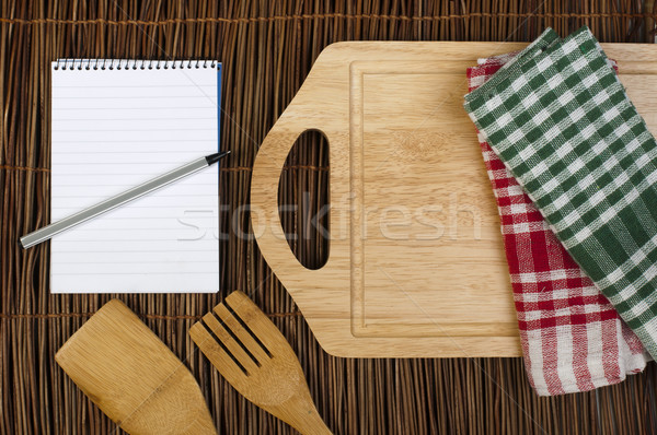 Foto d'archivio: Notebook · scrivere · ricette · cucchiaio · forcella · cucina