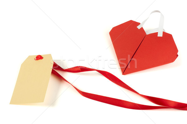 Heart made ​​of curled red paper and label Stock photo © deyangeorgiev