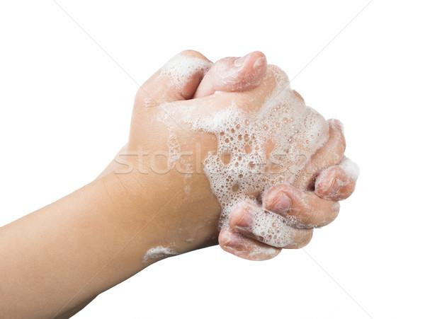 Stockfoto: Handen · zeep · geïsoleerd · water · hand · badkamer