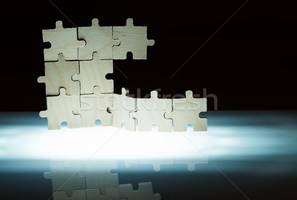 Bois puzzle rétroéclairage Photo stock © deyangeorgiev