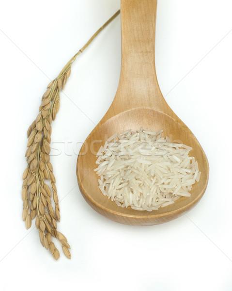 Basmati arroz branco saúde colher Foto stock © deyangeorgiev