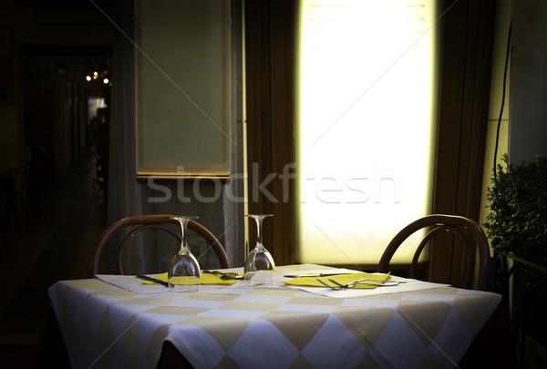 Tavola ristorante italiano legno antichi mobili costruzione Foto d'archivio © deyangeorgiev