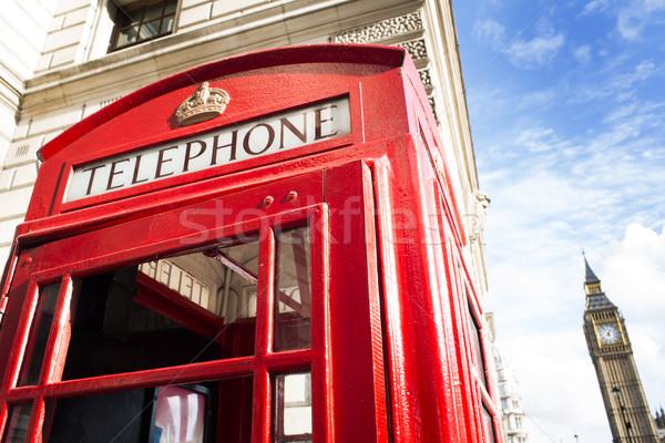 Big Ben vermelho telefone céu cidade caixa Foto stock © deyangeorgiev