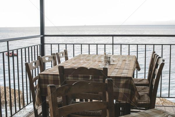 Сток-фото: греческий · ресторан · типичный · Греция · пляж · дома