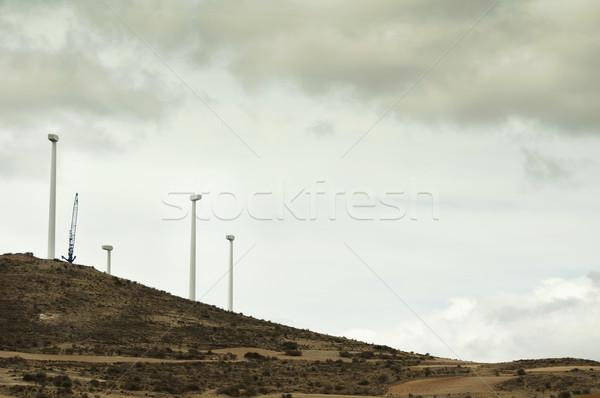 Installáció szélturbinák égbolt fű tájkép mező Stock fotó © deyangeorgiev