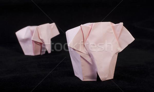 Pink elephants black isolated Stock photo © deyangeorgiev