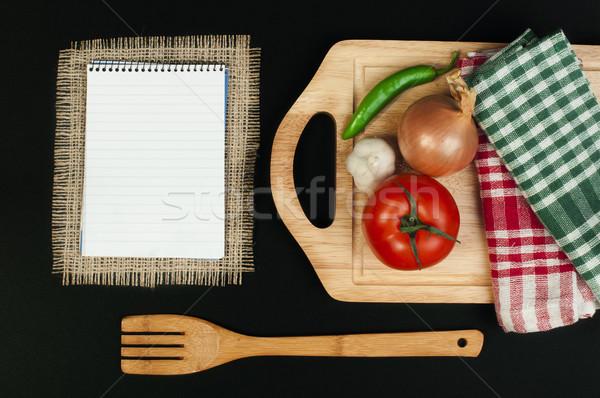 Foto d'archivio: Notebook · scrivere · ricette · verdura · in · giro · foglia