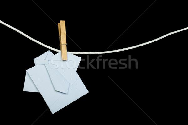 Origami shirt touw zwarte geïsoleerd papier Stockfoto © deyangeorgiev