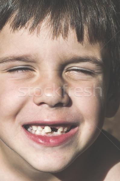 ребенка отсутствующий зубов лице фон портрет Сток-фото © deyangeorgiev