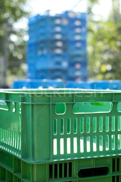 Plastikowe zielone zamazany niebieski polu rynku Zdjęcia stock © deyangeorgiev