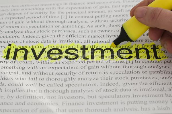 Typed text investment yellow marked Stock photo © deyangeorgiev