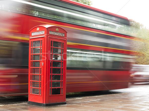 赤 電話 バス ロンドン ヴィンテージ 市 ストックフォト © deyangeorgiev
