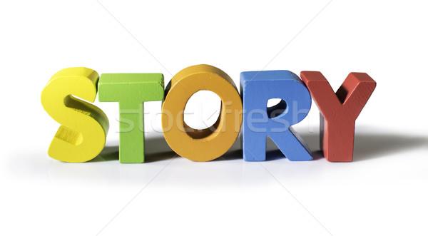 Stockfoto: Veelkleurig · woord · verhaal · hout · witte · papier