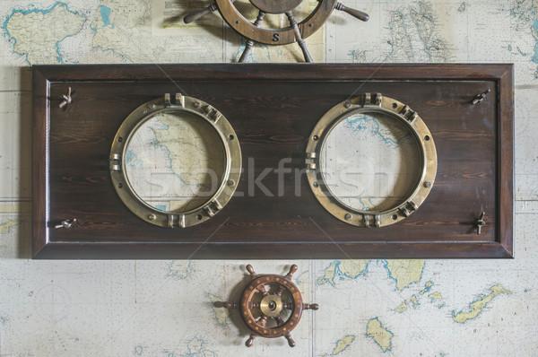 Barco detalhes parede vintage mapa mar Foto stock © deyangeorgiev
