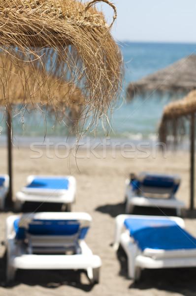 Paille plage parapluies paysage Palm océan Photo stock © deyangeorgiev